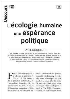 Discours n°10 - L'écologie humaine une espérance politique