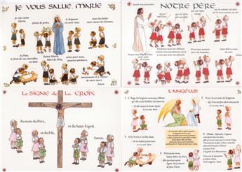 Cartes Notre Père + Je vous salue Marie + Angélus + Signe de la Croix (lot de 4)