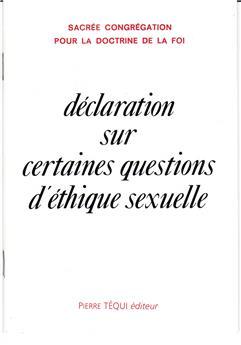 Déclaration sur certaines questions d'éthique sexuelle