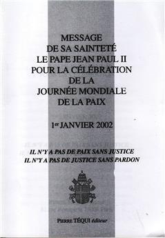 MESSAGE JOURNEE PAIX 2002
