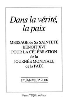 Message journée de la Paix 2006