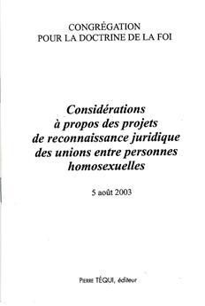 Considérations des projets de reconnaissance juridique des unions entre personnes homosexuelles
