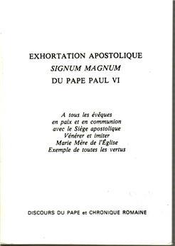 Exhortation apostolique Signum magnum