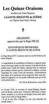 Les quinze oraisons révélées par Notre Seigneur à sainte Brigitte de Suède