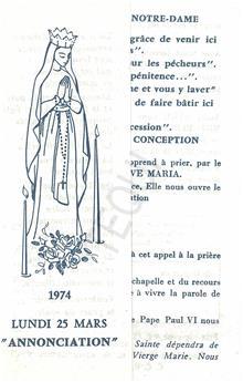 """Lundi 24 mars 1974 """"Annonciation"""""""