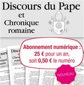 Abonnement Discours du Pape 1 an - Numérique