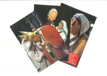 Cartes postales Jean-Paul II & Mère Teresa (lot de 2x3)