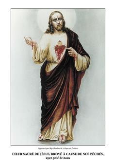 Cœur de Jésus broyé à cause de nos péchés - Triptyque en couleurs
