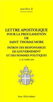 Lettre apostolique pour la proclamation de saint Thomas More