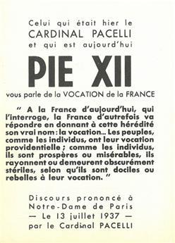 Discours Pie XII - La vocation de la France