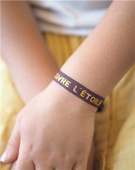 Bracelet ruban brodé « Suivre l'étoile » bordeaux
